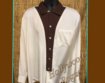 Vintage reproduction Hollywood Rogue 1950s Fleck panel shirt Available in large and X large