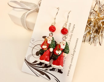 Santa Earrings, Christmas Earrings, Holiday Jewelry, Santa Claus, Ugly Sweater Party, Grab Bag Gift, Christmas Jewelry, Holiday Party Accent