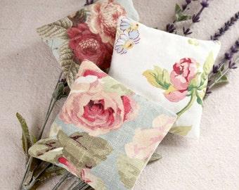 Set of 3 Lavender Sachets - Roses Lavender Sachet - Blue - Pink - Roses - Scented Sachets - Valentine Gift