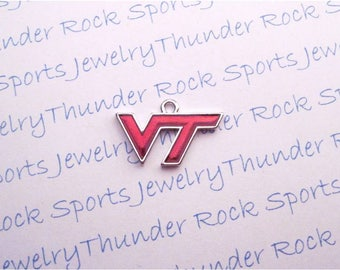 VIRGINIA TECH HOKIES Charm Antique Silver Plated with red enamel University logo College Pendant