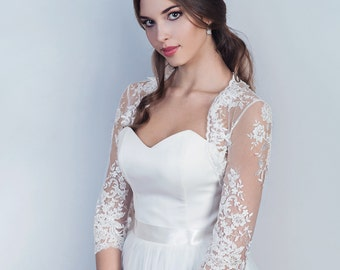 Bridal lace bolero 3/4 sleeves lace wedding jacket Long sleeve lace bolero