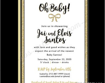 OH BABY / Gold Glitter Gender Neutral Baby Shower Invitations or Birth Announcements