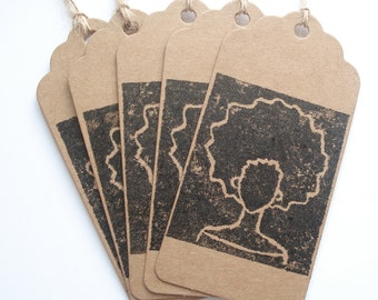 Set of 5 Afro Lino Print Gift Tags