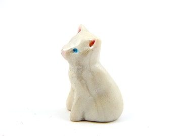 Little White Kitten, One Blue Eye and One Green Eye,  Hand-Sculpted Miniature Figurine, Polymer Clay and Mica Powders