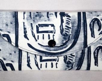 Ivory and Black Wallet, Vegan, Women's Wallet, Fabric Wallet, Tri-fold Wallet, Clutch
