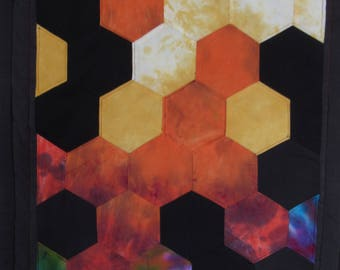 """Hand dyed hexagons quilted wallhanging  17"""" x 25"""" OOAK  twilightdance"""