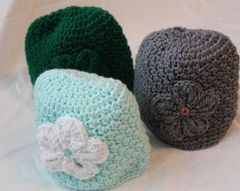 Crocheted Hat with Jeweled Flower