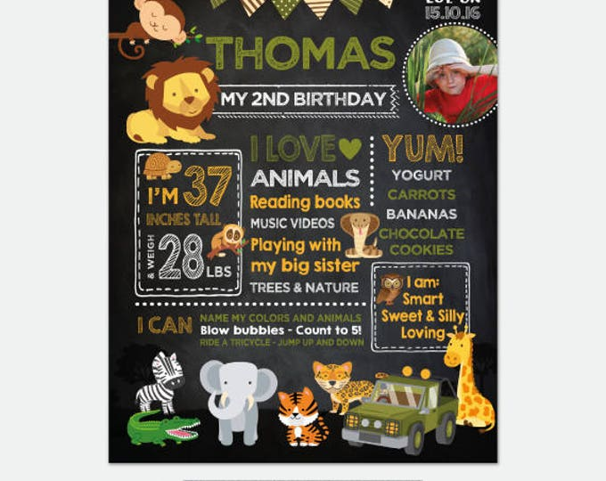 Safari Chalkboard Sign with Photo, Jungle Birthday Party, Any Age, Personalized Digital Board