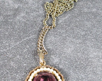 Vintage Avon Purple Amethyst Pendant Necklace with Tiny Seed Pearls