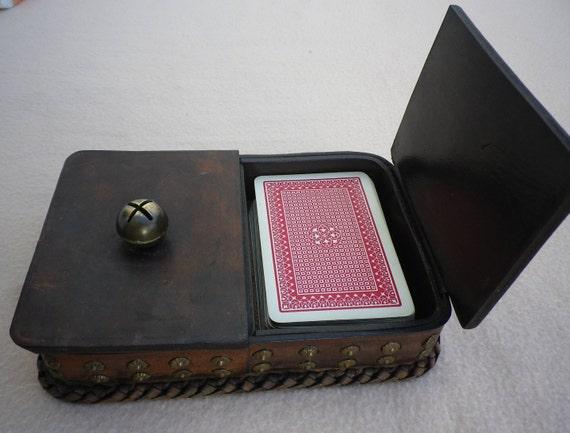 Double playing card box handcrafted vintage leather sewing double playing card box handcrafted vintage leather sewing box jewelry box trinket box business card box reheart Image collections