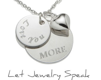 Personalized Wedding Gift for Bride, Love you More Necklace Pendant, Custom Jewelry, 925 Sterling Silver Jewelry N024