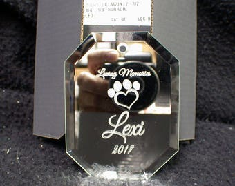 Dog or Cat Pets Loving Memory Memorial Christmas Ornament Personalized Kitty, Puppy.