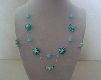 Original Necklace blue and yellow beads