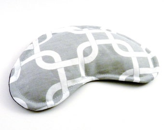 Contoured Eye Pillow, Rice Flax Eye Mask, Unscented, Lavender, Chamomile Face Heat Pad for Microwave, Gray Grey White Navy