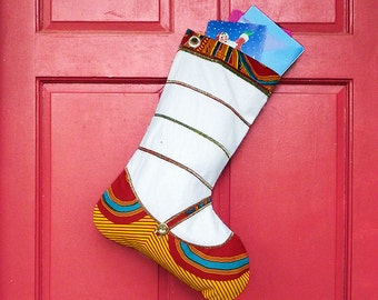 Large Christmas Stocking - School Girl African Print Indoor/Outdoor Christmas Decoration