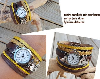 Yellow woman shows chocolate brown leather bracelet leather watch cuff handmade personalized custom