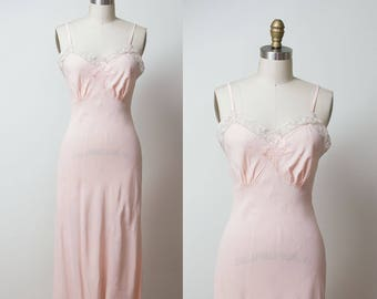 1940s Pink Slip / 40s Butterfly Applique Lace Slip