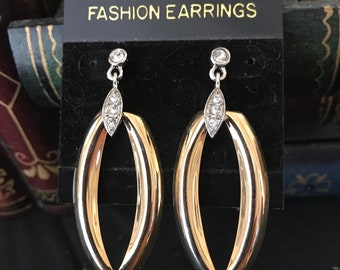 Vintage Fashion Goldtone with Rhinestones Pierced Earrings - New/Old Stock