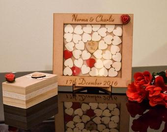 Rustic Wedding Guest Book,Custom Drop Box,Different Alternative Personalised Drop Box, Oak frame,Oak Heart Drop Box, Wedding Gift,Guest book