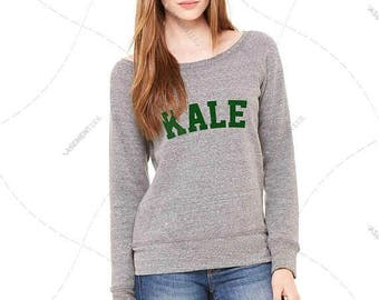 "Womens - Girls - Premium Relaxed fit Wide Neck Sweatshirt ""Kale"" Fashion Fit, Bella + Canvas Los Angeles"