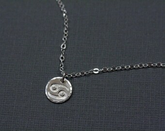 Cancer Zodiac Necklace - July Zodiac Hand Stamped Zodiac Necklace in Sterling Silver - Astrological Sign, Horoscope Jewelry