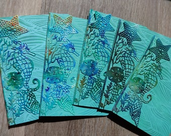Seahorse and seashells border blank notecards  (set of 5 cards)