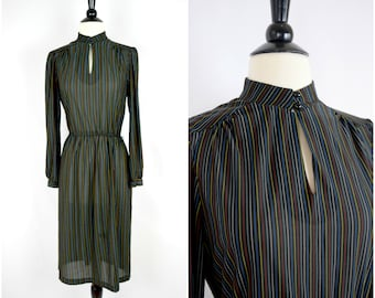 Vintage retro black rainbow striped dress / keyhole neckline long sleeved dress