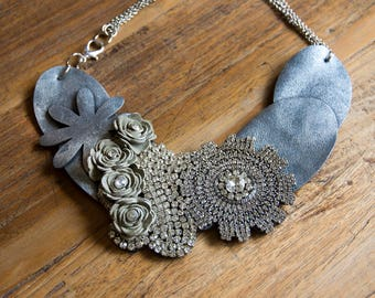 SILVER choker of leather necklace floral silver