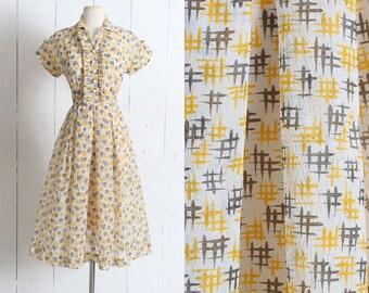 Vintage 1950s Dress | vintage 50s hashtag print | tuxedo ruffle | yellow gray crepe dress | xs/s small sm