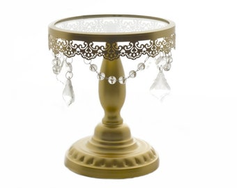 """Crystal Draped Round Metal Cake Stand - Gold - 8"""""""