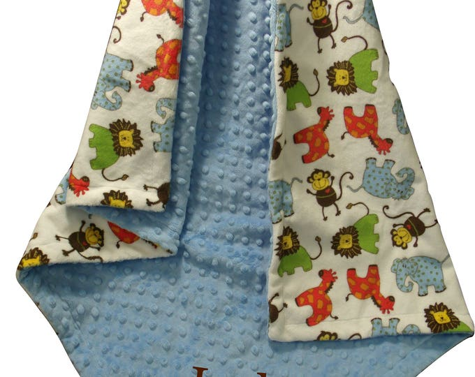 Jungle Theme Baby Boy Minky Blanket Blue Red and Green Animal Swaddle