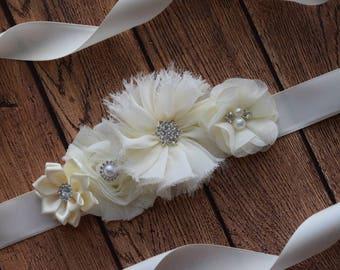Ivory Sash ,#2, flower Belt, maternity sash, wedding sash, flower girl sash, maternity sash belt