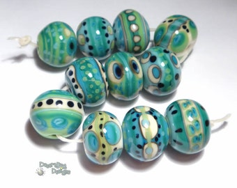TEMPEST Lampwork Beads HandmadeIvory Teal Turquoise Green Black Cool Big Bold Free Flow Set of 11
