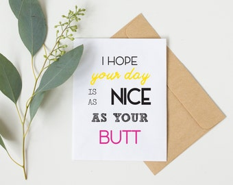 Best friend birthday etsy as nice as your butt funny boyfriend card best friend birthday card anniversary bookmarktalkfo Choice Image
