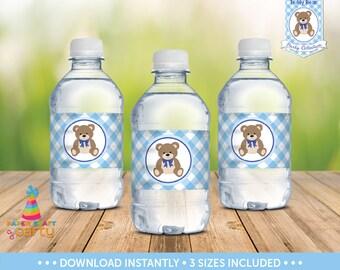 Teddy Bear Picnic Water Bottle Labels - Teddy Bear Drink Wraps -  Instant Download TB10