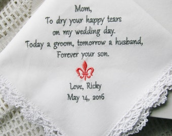 Son to Mother-Mom Gift- Embroidered Handkerchief Choose Your Wording and Design