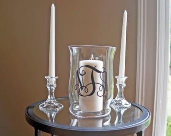 Unity Candle Holder Set - Vine Monogram - Vinyl Wedding Monogram - Glass Candle Holder - Wedding Candle - Unity Ceremony - Unity Set