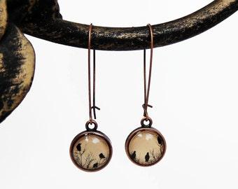 Crow Earrings in Copper Finish - Raven Earrings - Blackbird - Magpie - Bird Silhouette Dangle Earrings