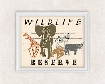 Safari Art Print of a Zebra, Giraffe, Elephant, Lion, and Rhino - 8x10 - Wildlife Reserve - Animal Art - Item #527