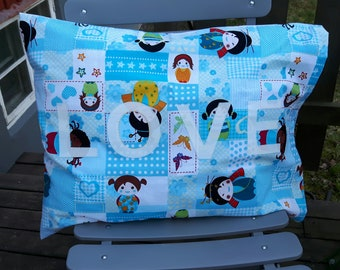 Blue pillowcase with LOVE