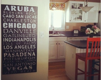 Vintage Subway Style Sign,  Chrsitmas Gift, Bus scroll, Vintage scroll, List of your favorite places, Personalized