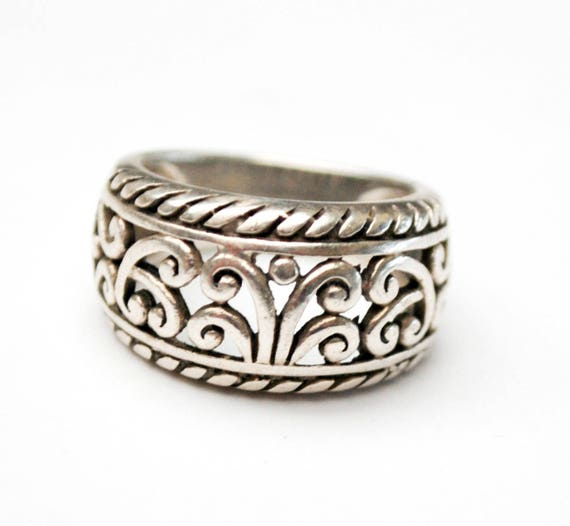 Sterling Filigree  Ring  silver Scroll band wave design   size 5.5