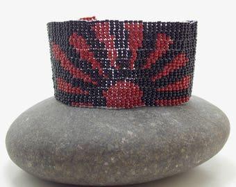 Chinese Sun Fire Beadwoven Cuff/Bracelet