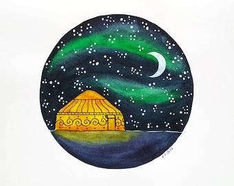 Original Watercolor painting art illustration Yurt tent Camping Glamping Stars Starry sky Moon