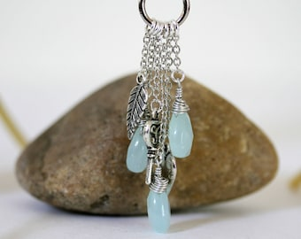 Long or Short Peach Soft Powder Blue Pastel Convertible Multi Stone Dangling Charm Cascading Necklace