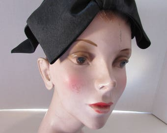 Vintage Half Hat Black Fabric Hat Saks Fifth Avenue Mid Century Fashion Large Bow Hat Flared Tails Hat Vintage Fashions