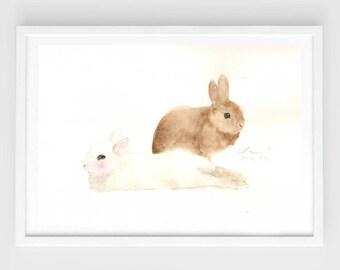 "Original watercolor,bunny painting,""bunny love N.2"",original painting,7""x10"",home decor"