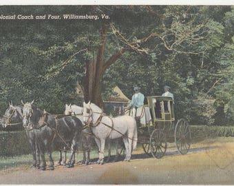 Antique Vintage Postcard A8 Colonial Coach And Four Williamsburg VA Virginia Linen