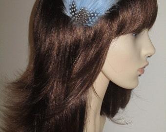 Cornflower Pale Light Blue Feather Fascinator HAIR CLIP Bridesmaids Hair Accessory Handmade Wedding 'Gwen'