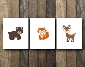 Woodland Nursery Printables - Instant Download - Woodland Nursery Art - Woodland Animal Prints